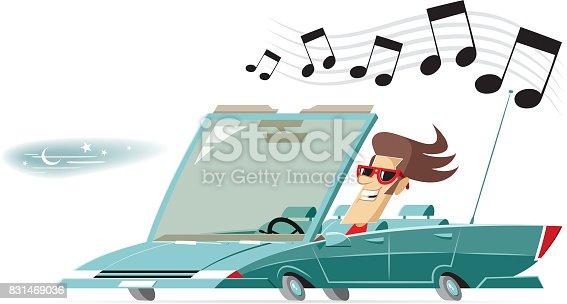 istock Cool convertable car vector 831469036