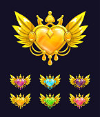 Cool decorative heart with golden wings and crown. Vector icons for game or web design.