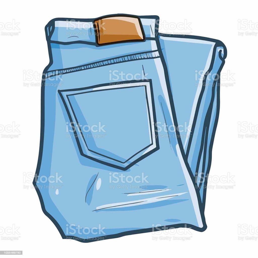 cool denim get folded vector art illustration