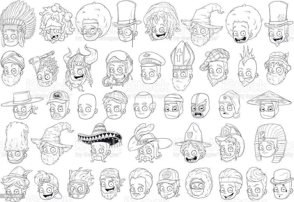 Cool different cartoon black and white characters heads cool different cartoon black and white characters heads - immagini vettoriali stock e altre immagini di assassinio royalty-free
