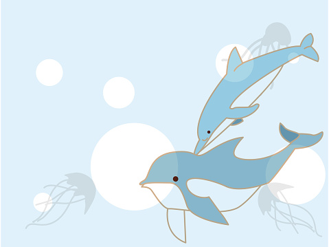 Cool dolphin and jellyfish background.。