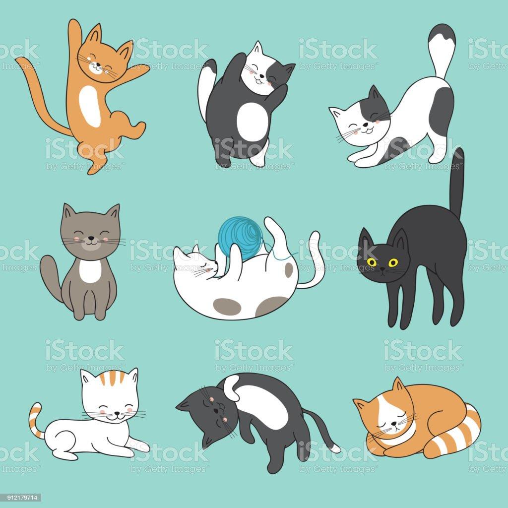 Doodle fresco gatos Resumen vector de caracteres. Mano dibuja gatitos dibujos animados - ilustración de arte vectorial
