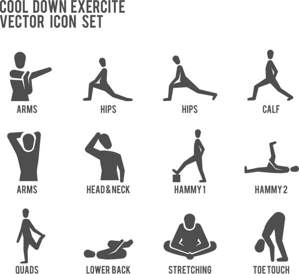 Cool Down Warm Up Exercise Stretching Workout Fitness Vector Icon Set Sporty people doing stretches warm-up and cool down exercises. hamstring stock illustrations