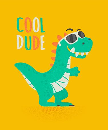 Cool Dude Dinosaur Tirannosaur Three Rex. Cartoon Tirex. Card for a Child. Vector Cute and Funny Cartoon Hand Drawn Dinosaur with Sunglassess, Children s Illustration, Print for Kids