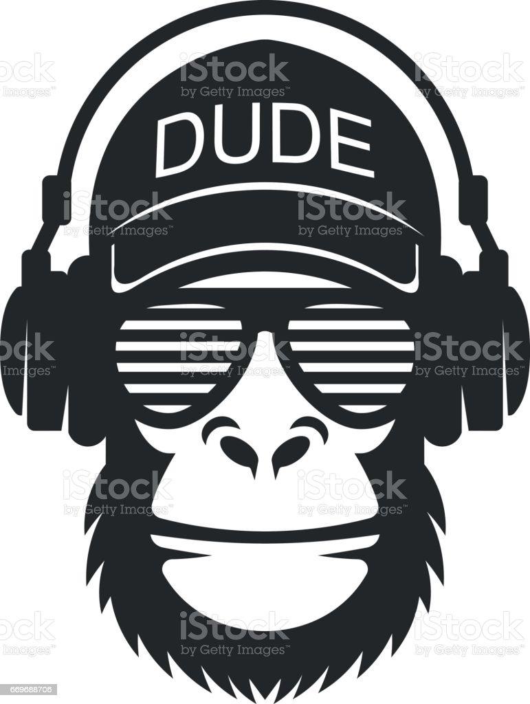 Cooler Typ Affe mit Brille und Kopfhörer – Vektorgrafik