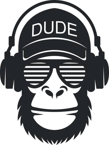 メガネとヘッドフォンのクールな男猿 - 猿点のイラスト素材/クリップアート素材/マンガ素材/アイコン素材