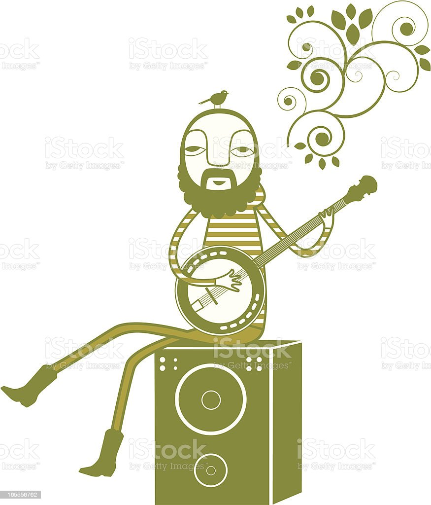 Cool dude playing the Banjo vector art illustration