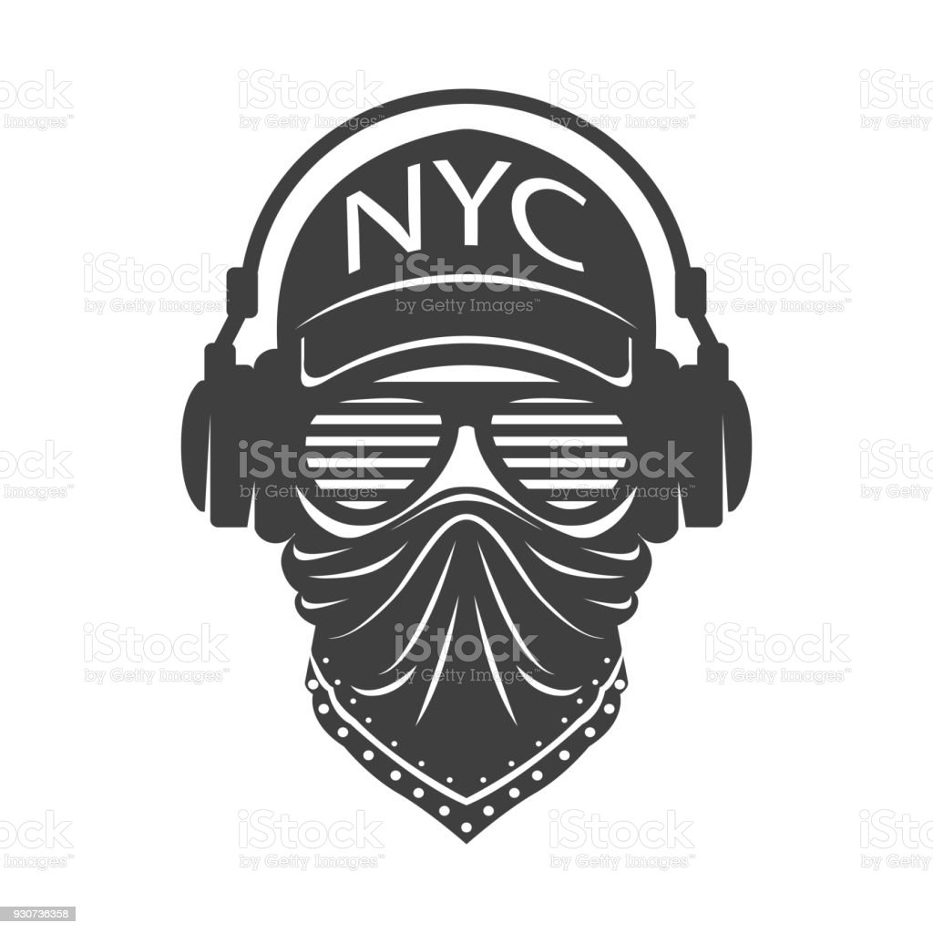 Cool dude with glasses and headphones vector art illustration