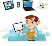 Object in hand can be easily swapped - Separate icons for tablet, smartphone, laptop, and email.