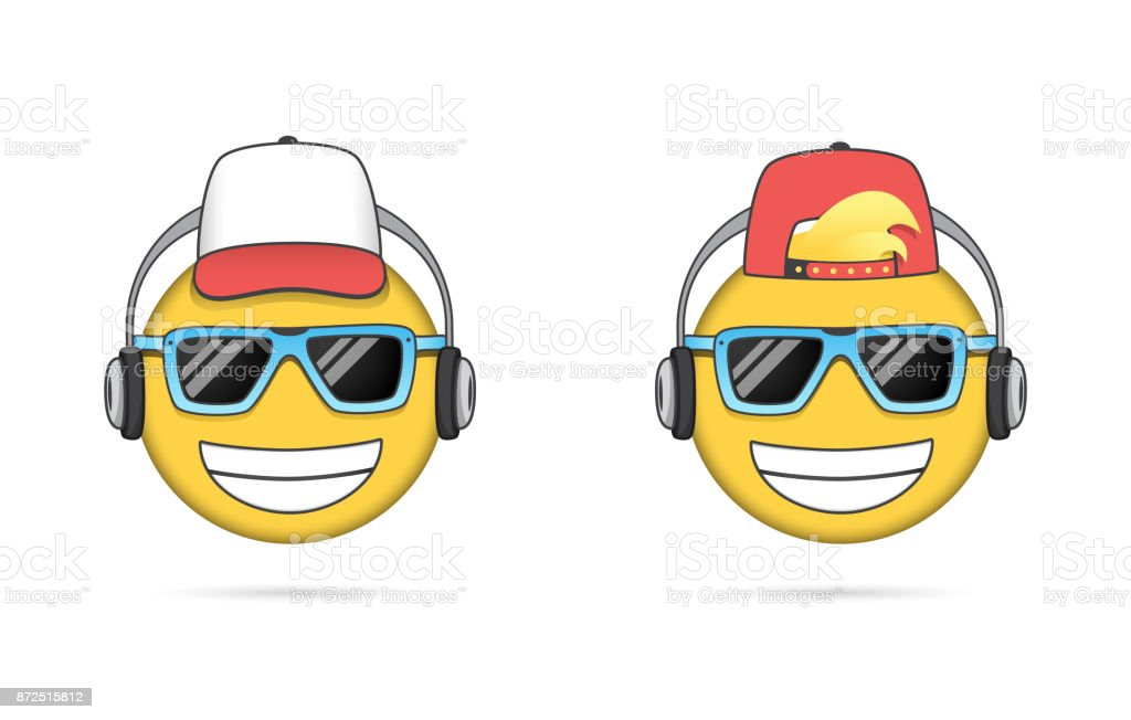 Cool Emoji Listening To Music And Cap Stock Vector Art 872515812