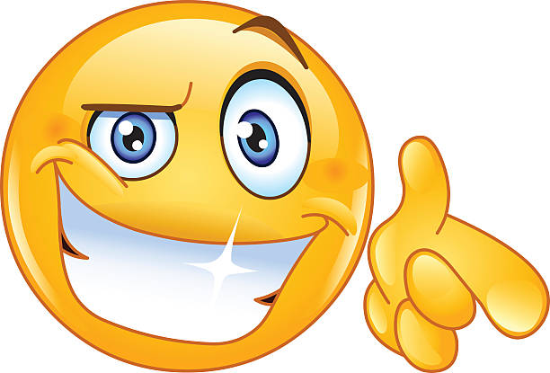 cool emoticon pointing at you - toothy smile stock illustrations