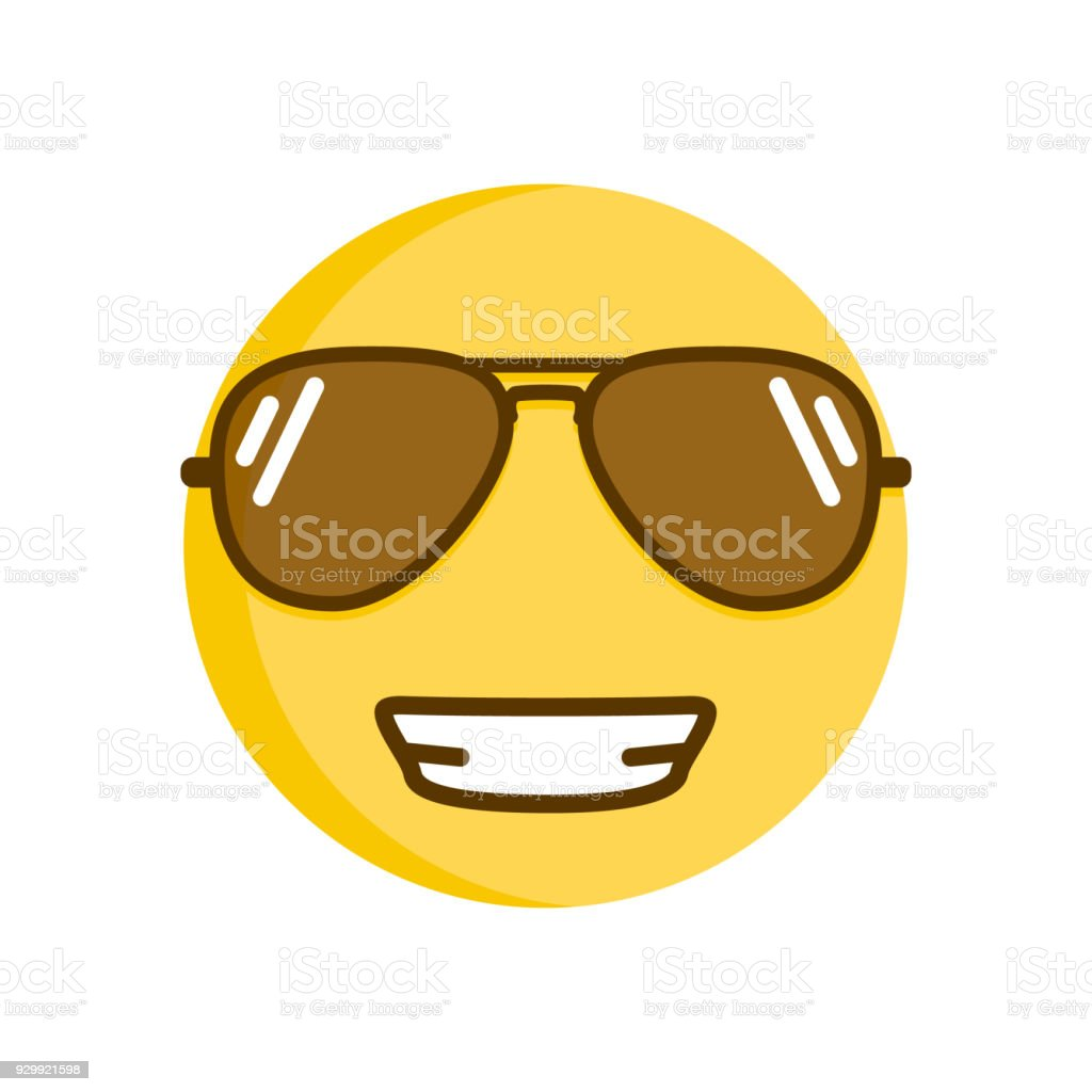cool emoticon smiling in sunglasses vector smiley emoji for spring and summer royalty free