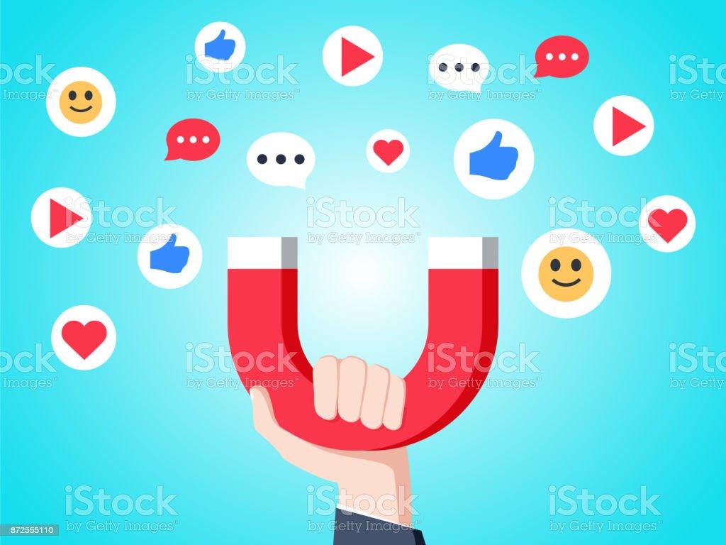 Cool flat design social media success and appreciation concept vector illustration. Hand holding magnet attracting likes vector art illustration