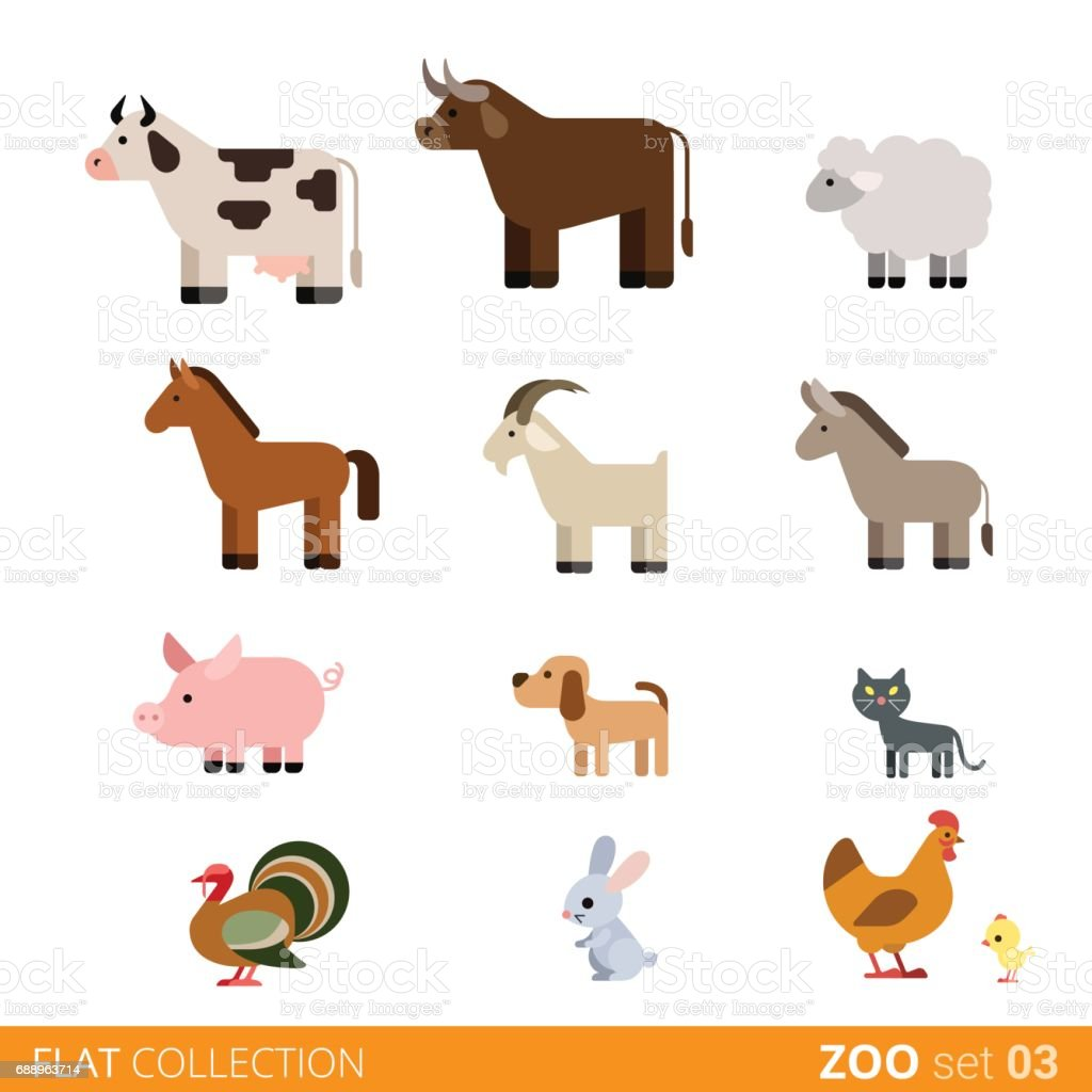 Cool flat design trendy style vector animals icon set. Flat zoo...