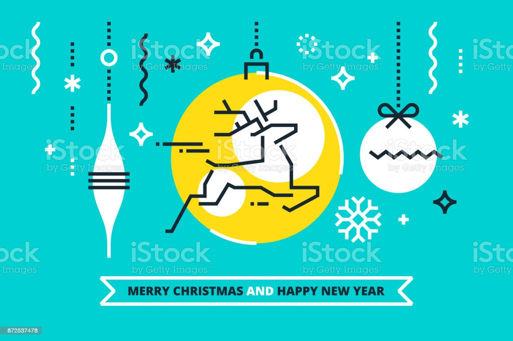 Cool Christmas Cards.Cool Flat Linear Xmas Illustration For Banners Greeting