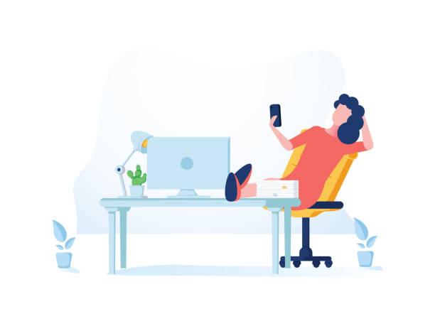 Coole flache Stil detaillierte Illustration über Selbständigkeit zeigt zuversichtliche Unternehmerin, die ihre Aufgaben zu verwalten – Vektorgrafik