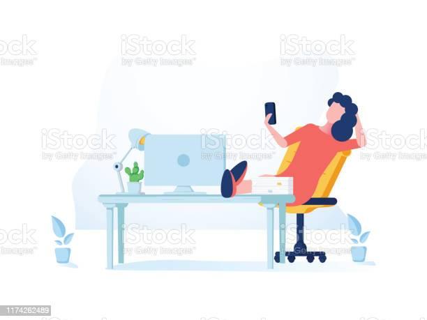 Cool Stile Piatto Illustrazione Dettagliata Sul Lavoro Autonomo Raffigurante Fiducioso Donna Imprenditore Gestire I Suoi Compiti - Immagini vettoriali stock e altre immagini di Accessibilità