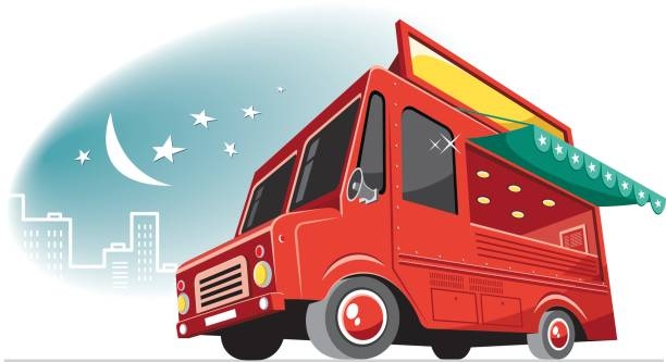 Cool food truck vector art illustration