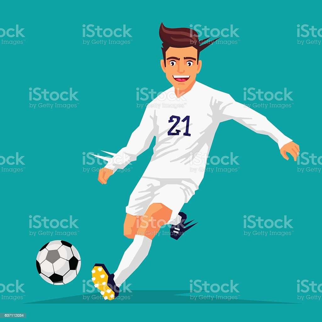 Cool football player in white form vector art illustration