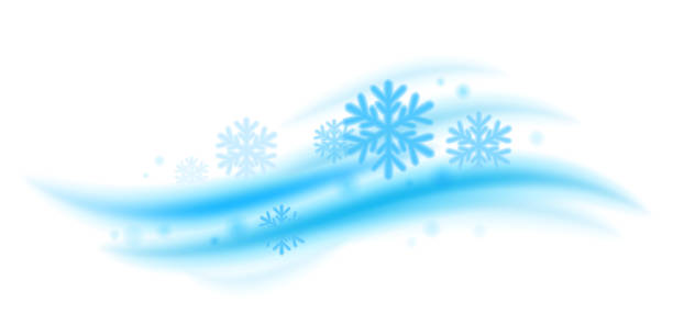 cool fresh mint wave with snowflakes vector illustration - rüzgar stock illustrations