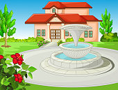 Cool Front Yard House With Water Fountain, Grass Field, And Flower Cartoon