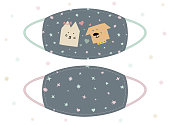 Cool funny design for face mask, t-shirts and more. Cat and dog in love in a cartoon style. Fashion face mask for kids or ladies.