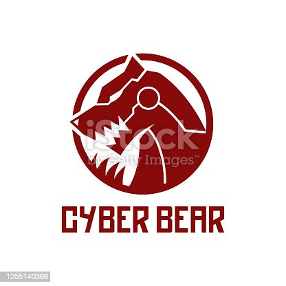 cool futuristic cyber bear with claw and fangs design