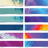 A set of vector banner in various designs and colors. All objects are grouped individually.