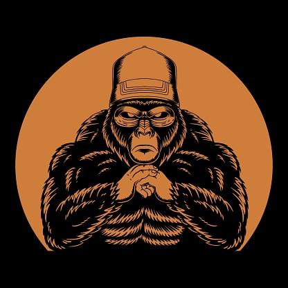 Cool gorilla retro vector illustration