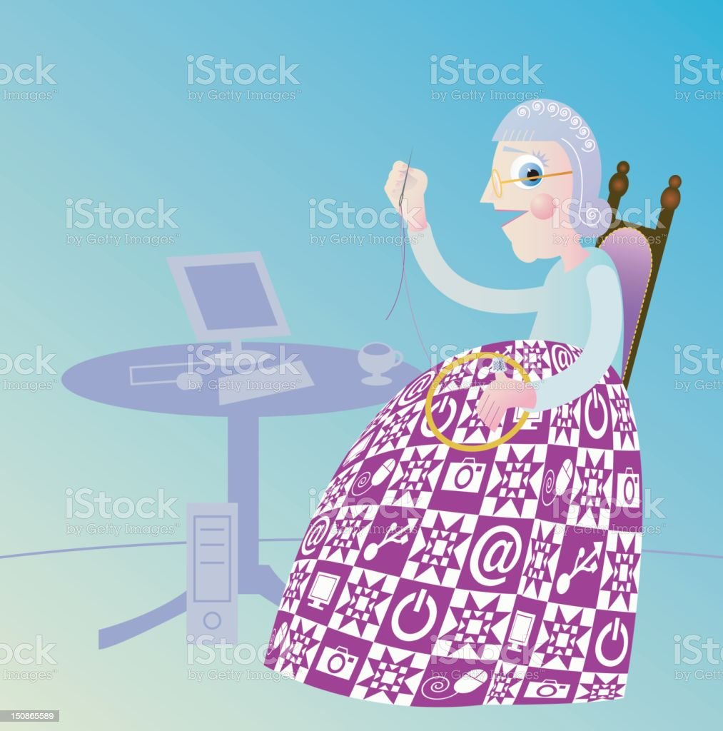 Cool Granny royalty-free stock vector art