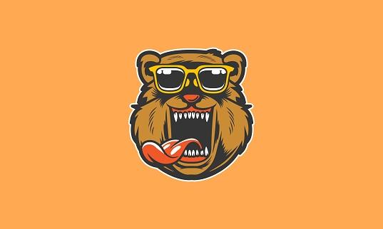 Cool Grizzly Bear Cartoon Mascot