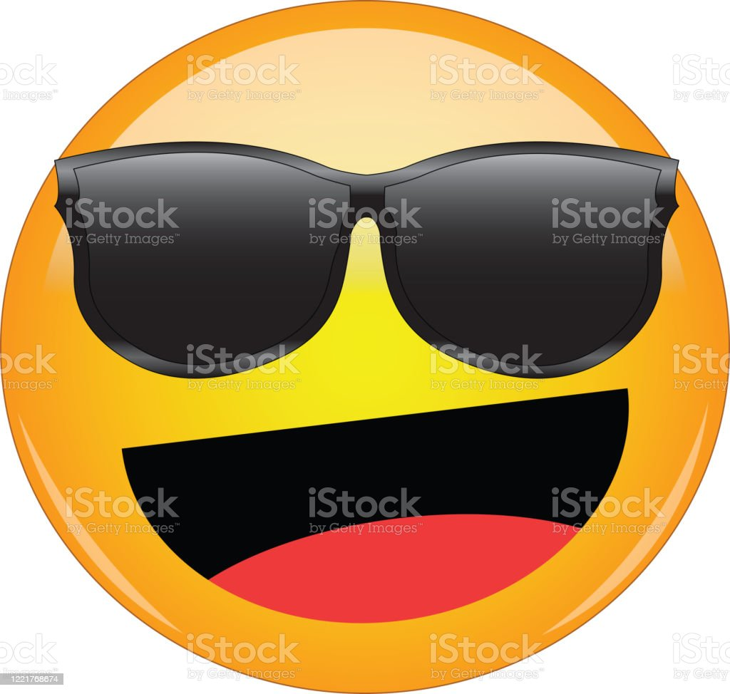 Cool Happy Emoji In Shades Awesome Yellow Face Emoticon Wearing Sunglasses With A Wide Smile And Laughing Expression Of Happiness Laughter Joy Fun As Well As Being Cool And Awesome Stock Illustration