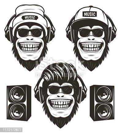 istock Cool hip hop music monkey set, vector hand drawn illustration 1172172877