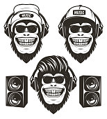 Cool hip hop music monkey set, vector graphics for t-shirt, etc. Funny hand drawn monkeys in sunglasses and with headphones wearing hat and cap listening to music, loudspeakers.