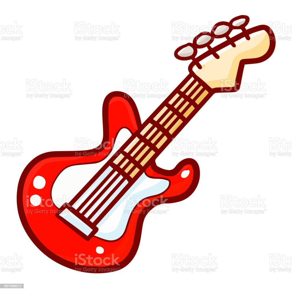 cool iconic red electric guitar stock vector art more images of rh istockphoto com electric guitar vector outline electric guitar vector png