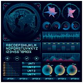 A set of cool science fiction infographic graphic elements with custom fonts.