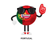 Cool Soccer Ball Character Illustration With International Country Flag Graphic