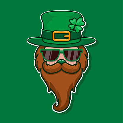 Cool leprechaun with glass, mustache and hat with clover. Feast of Saint Patrick. 17 March celebration