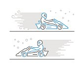 Cool line go kart and karting symbol