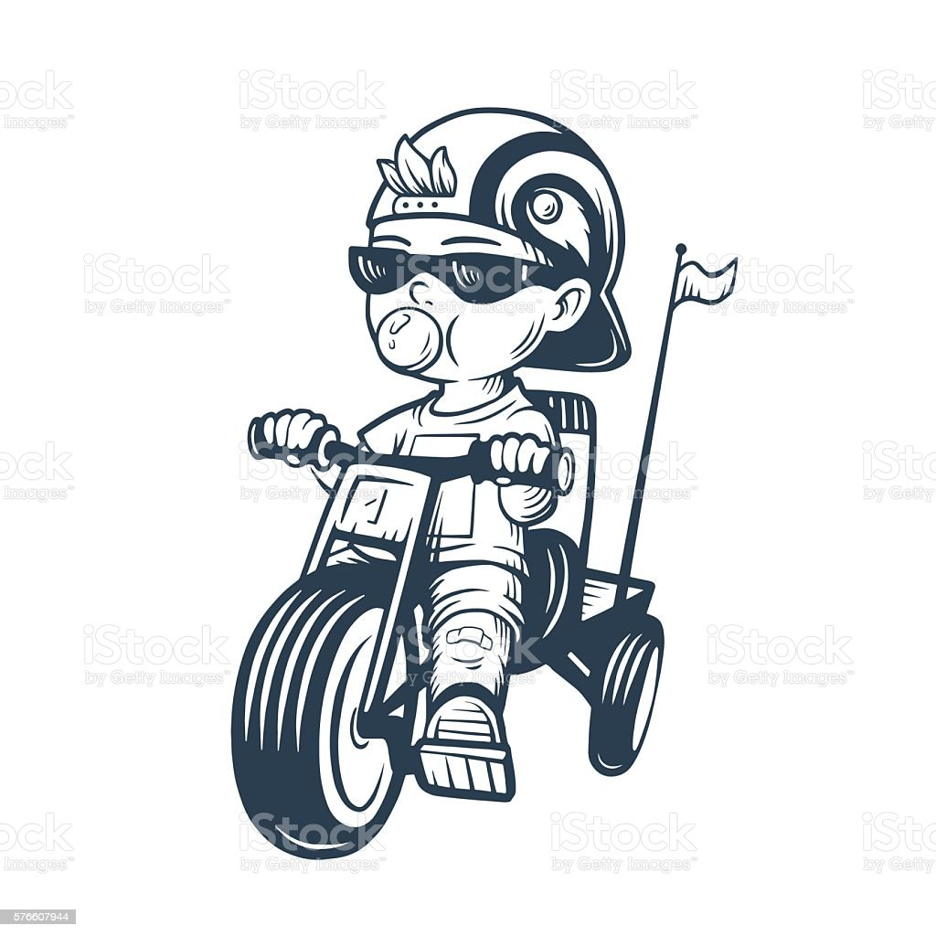 Cool little boy on bike with gum bubble in vector. vector art illustration