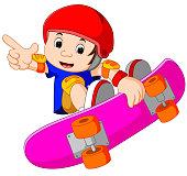 illustration of Cool Little Skateboard Guy Doing an Extreme Stunt