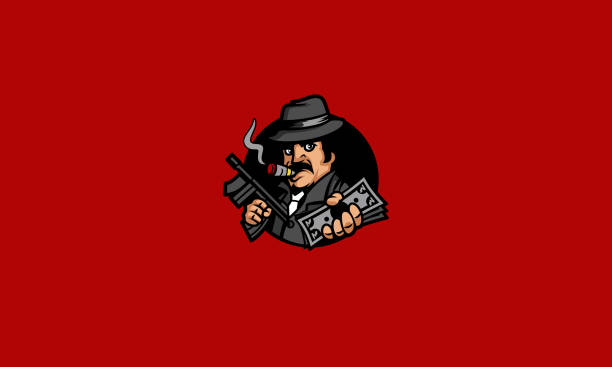 stockillustraties, clipart, cartoons en iconen met cool maffia boss mascotte karakter vector - guy with cigar
