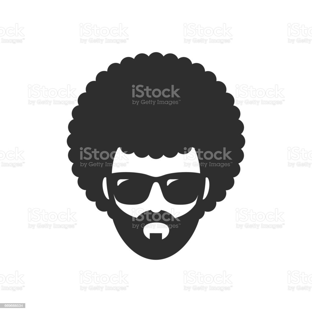 Cool man. Afro Haircut. African vector art illustration