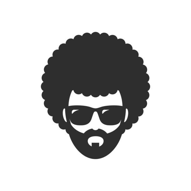 Cool man. Afro Haircut. African vector art illustration