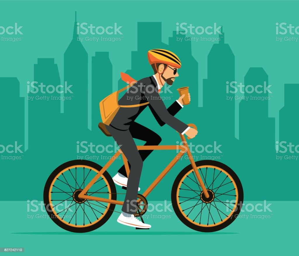 Bicicleta equitação legal de empresário do homem ao escritório. Bicicleta de cidade amiga da moda eco para trabalhar - ilustração de arte em vetor