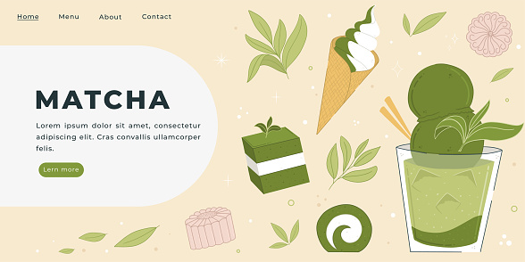 Cool Matcha desserts and drinks Vector Illustration