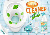 Vector 3d illustration of cool mint toilet cleaner. Plastic bottle with detergent design. New liquid cleaning product brand advertising poster.