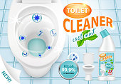 Cool mint toilet cleaner ad vector 3d illustration