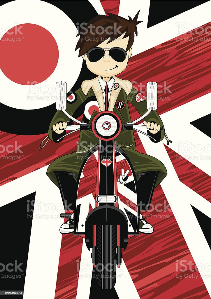 Cool Mod Boy in Parka on Scooter royalty-free stock vector art