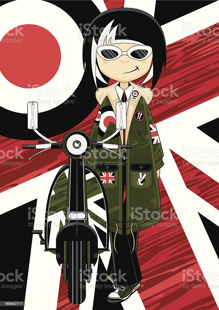 Cool Mod Girl in Parka with Scooter royalty-free stock vector art